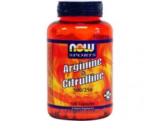 NOW Arginine 500mg + Citrulline 250mg - 120 caps.